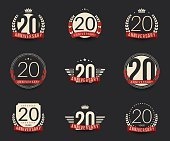 Twenty years anniversary celebration logotype collection. 20th anniversary logo.