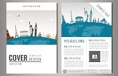 Travel flyer design with famous world landmarks. Brochure headline