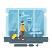 Vector flat style illustration of bearded man in airport