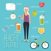 Concept of healthy lifestyle infographics. Young woman lead a he