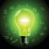 Green light bulb on hand drawn business icons background