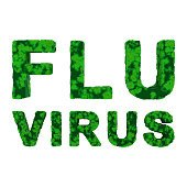 Green FLU VIRUS Text Isolated on White Background 3D Illustration