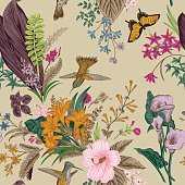 Vector seamless vintage floral pattern. Exotic flowers and birds.