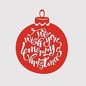 We wish a merry Christmas. Merry Christmas Lettering Design. Vector illustration.