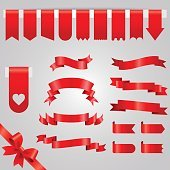 Ribbon vector icon set