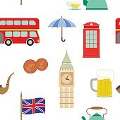 Seamless pattern with england icons