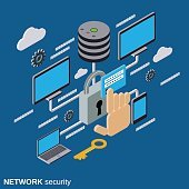 Network security, data protection vector concept