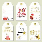 Light red gold tag with reindeer,fox and snowman