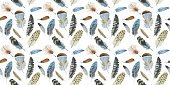 Watercolor bird feather pattern from wing isolated.