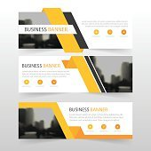 Orange abstract triangle corporate business banner template, horizontal advertising business