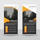 Orange black Business Roll Up Banner flat design template Abstract