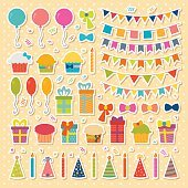 Set of birthday party design elements, stickers