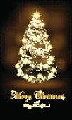 Greeting banner with stylized sparkling Christmas tree