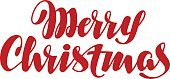 Merry Christmas handwritten lettering. Vector calligraphy element for design xmas