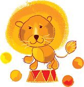 vector illustration of kiddy circus lion