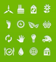 White ecological vector icon set