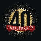 Forty years anniversary logotype. 40th anniversary golden logo.