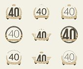 Forty years anniversary celebration logotype collection. 40th anniversary logo.