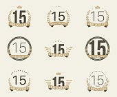 Fifteen years anniversary celebration logotype collection. 15th anniversary logo.