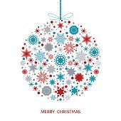 Christmas card with Xmas ball with colorful snowflakes.