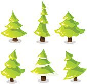 Christmas tree set. Abstract stylized trees. Vector illustration