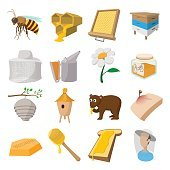Apiary cartoon icons set