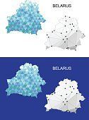 Belarus map in geometric polygonal style. Abstract gems triangle.