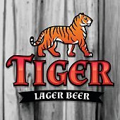 Bengal Tiger Beer vector. Lager Label design template. Predator insignia