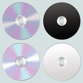 Vector illustration of isolated blank compact disc CD or DVD