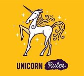 Vector illustration of standing magic white unicorn with horn, m