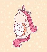 Vector illustration of cute magic unicorn with horn, pink mane