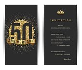 50th anniversary invitation card with golden logo.