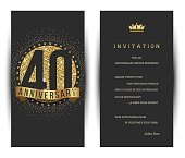 40th anniversary invitation card with golden logo.