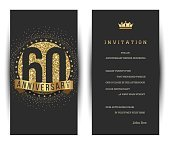 60th anniversary invitation card with golden logo.