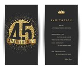 45th anniversary invitation card with golden logo.