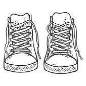 Vector Sketch Illustration - Pair of High Casual Gumshoes.