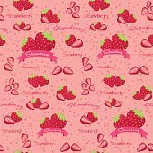 Seamless Pattern Vector Strawberries Fruit
