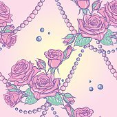 Pastel goth rose bouquets and pearls seamless pattern
