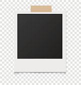 Realistic blank instant photos isolated on sticky tape. Vector i