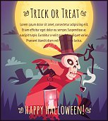 Happy Halloween poster Trick or treat greeting card Vector illustration