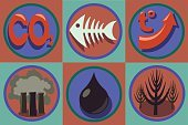 Ecological problems icon set. World pollution, global warming.