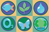 Ecology Icon Set. Vector Eco illustrations. Pure drop of water