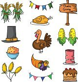 Thanksgiving element set of doodle