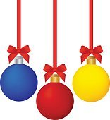 Set of bright colored photo-realistic Christmas balls