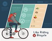 Biker riding on bicycle, Bike infographic banner design