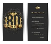 80th anniversary invitation card with golden logo.