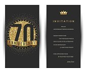 70th anniversary invitation card with golden logo.