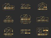 Twenty five years anniversary logotype collection. 25th anniversary logo.