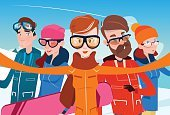 People Group With Ski Snowboard Take Selfie Photo Winter Activity