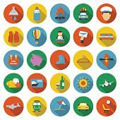 Travel icons set. Vacation, trip collection icon in flat. Hotel